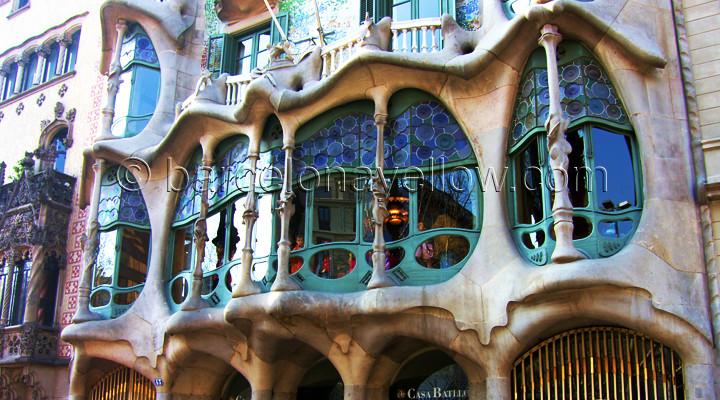 Casa Batllo - on street Passeig de Gracia in Barcelona