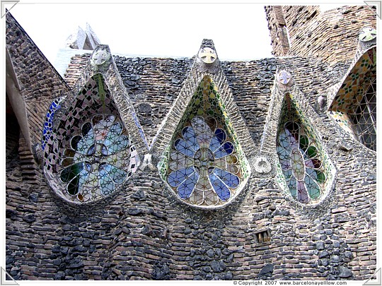 Tear drop form stained glass window of crypt at Colonia Guell