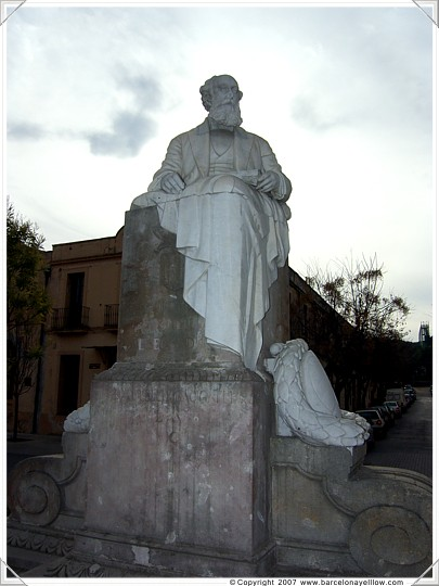 Stattue of Gaudi's patron Eusebi Guell in plaza of Colonia Guell