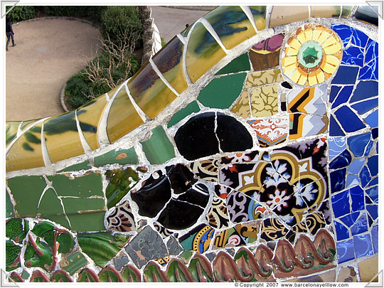 Parc Guell Barcelona - mosaic on the serpent bench