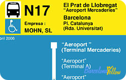 Barcelona airport night bus N17