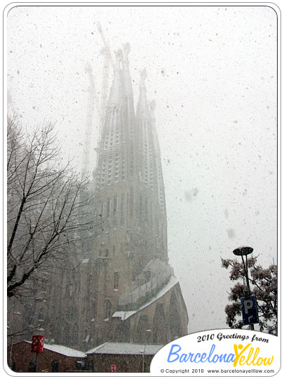 Snow on Sagrada Familia Barcelona