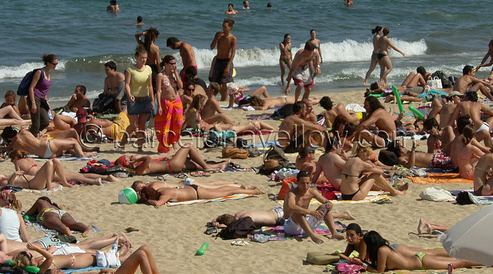 Crowded Barcelona beaches