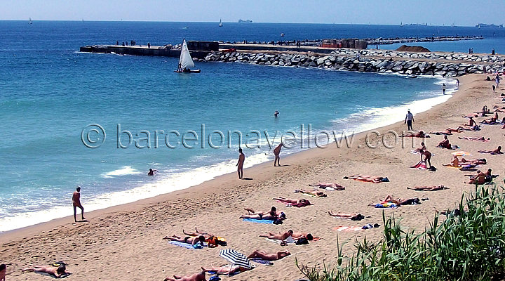 Nudist beach area on Mar Bella Beach Barcelona