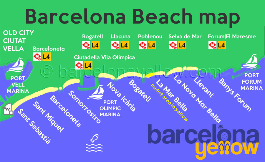map beaches Barcelona