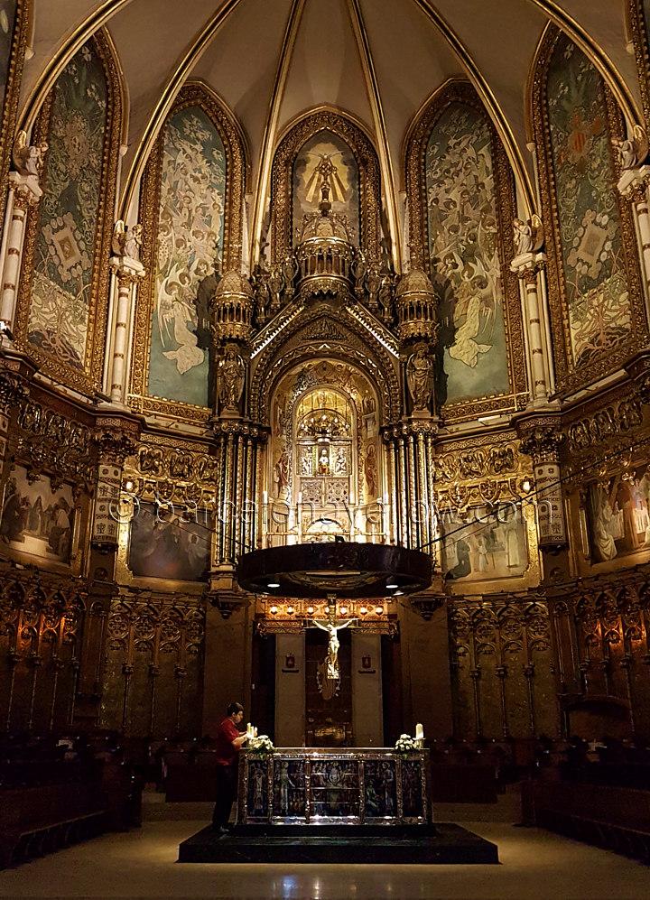 Montserrat basilica alter and Virgin of Montserrat
