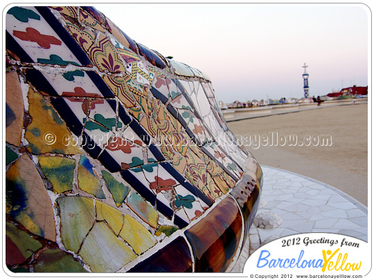Bench by Gaudi at Park Guell Barcelona