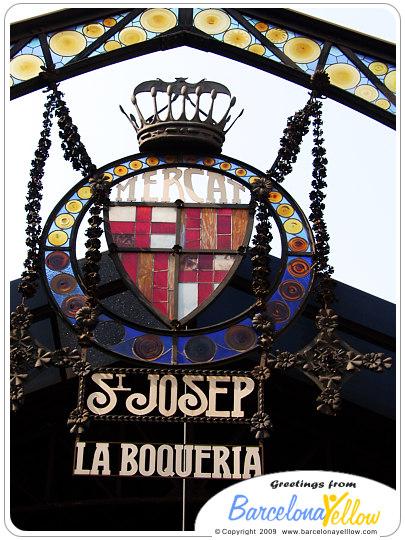 La Boqueria market la rambla sign