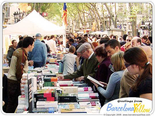 Sant Jordi's day book stalls on La Rambla