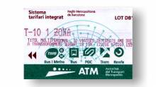 T10 metro ticket - ten journey metro travel card Barcelona