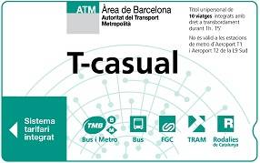 T-casual metro travel card Barcelona