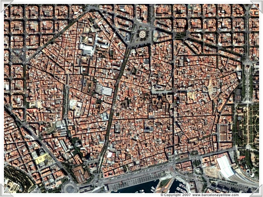 Old part of Barcelona - satellite image