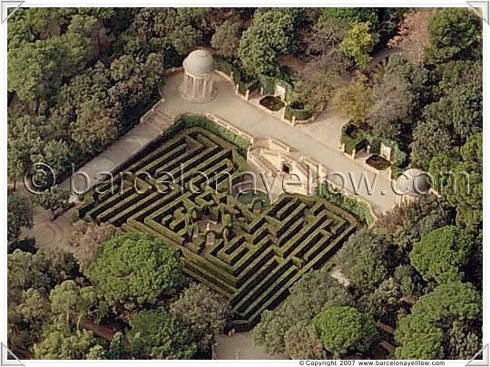 aerial view labyrinth park barcelona
