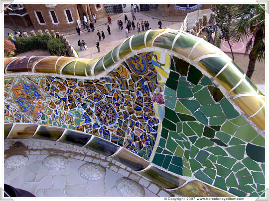 ark Guell - Anton Gaudi - mosaic on the serpent bench