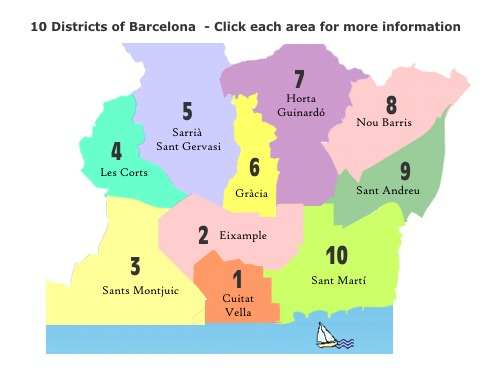 Barcelona Areas Of Barcelona - Barcelona map eixample district
