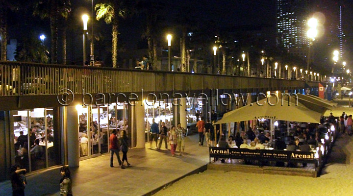 Beach cafes Barceloneta beach by night