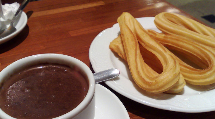 Churros with chocolate drink